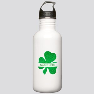 Custom Name Shamrock Water Bottle