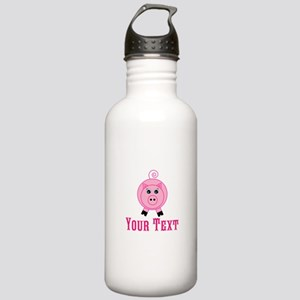 Personalizable Pink Pig Water Bottle