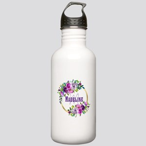 Purple and Gold Monogram Water Bottle