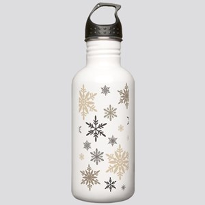 modern vintage snowflakes Water Bottle