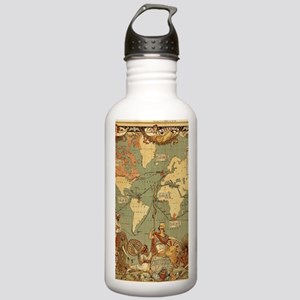 Antique World Map Vint Stainless Water Bottle 1.0L