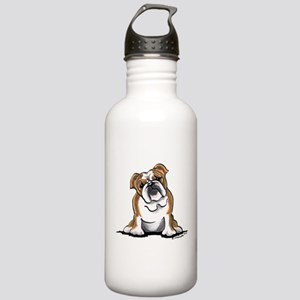 Brown White Bulldog Stainless Water Bottle 1.0L