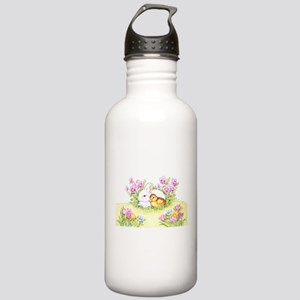 Easter Bunny, Duckling and Flowers Water Bottle