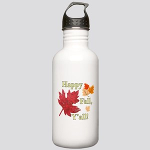 Happy Fall Y'all With Leaves Water Bottle