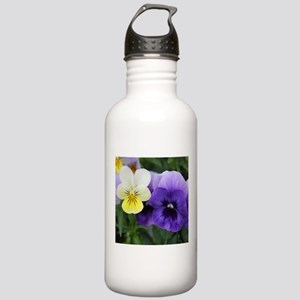 Italian Purple and Yellow Pansy Flowers Water Bott