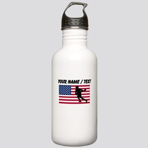 Custom Lacrosse American Flag Sports Water Bottle