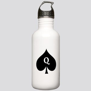 Queen of Spades With Q inside of Logo Water Bottle