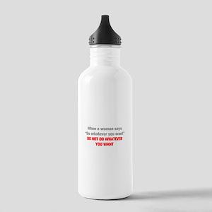 when-a-woman-akz-gray-red Water Bottle