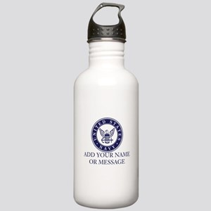 PERSONALIZED US Navy Blue White Water Bottle