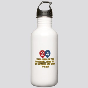 24 year old birthday designs Stainless Water Bottl