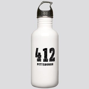 412 Pittsburgh Distressed Water Bottle