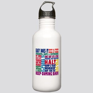 AA 12 Step Slogans 8k Water Bottle