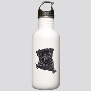 Black Pug Line Art Stainless Water Bottle 1.0L