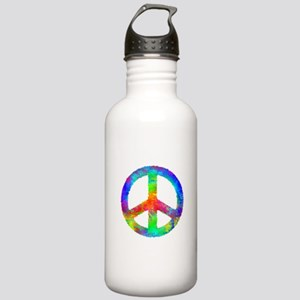 Multicolored Peace Sign Stainless Water Bottle 1.0