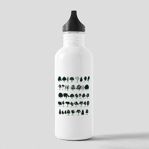 Tree Silhouettes Green 1 Sports Water Bottle