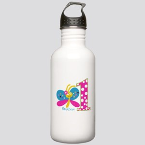 Butterfly First Birthday Stainless Water Bottle 1.