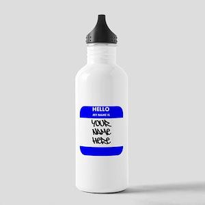 Custom Blue Name Tag Sports Water Bottle