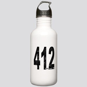 Distressed Pittsburgh 412 Water Bottle