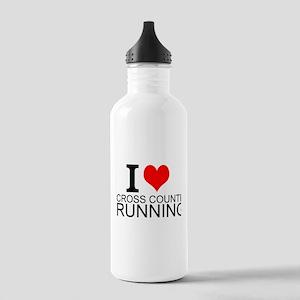 I Love Cross Country Running Water Bottle