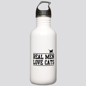 Real men love cats Water Bottle