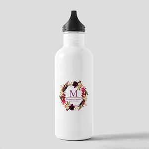 Boho Wreath Wedding Monogram Water Bottle