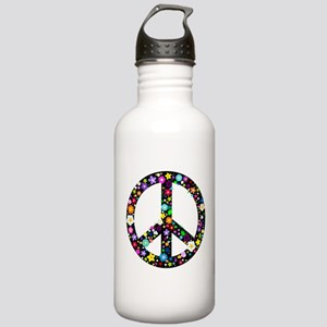 Hippie Flowery Peace Sign Stainless Water Bottle 1