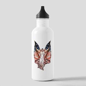 Vintage American Flag Art Stainless Water Bottle 1