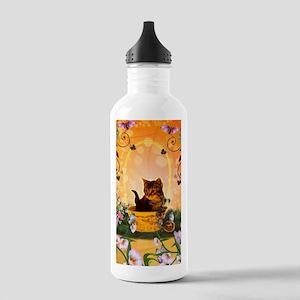 Cute little kitten with eastereggs Water Bottle