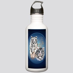 Two White Tigers Oval  Stainless Water Bottle 1.0L