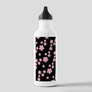 Cherry Blossoms Black Pattern Water Bottle
