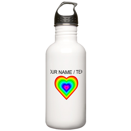 Custom Rainbow Heart Water Bottle