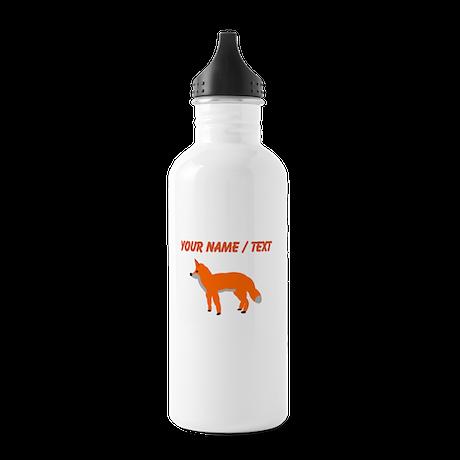 Custom Orange Fox Pup Sports Water Bottle