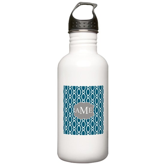 Vine Pattern Monogram Teal Gray