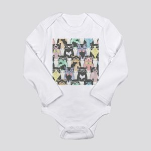 Hipster Cats Long Sleeve Infant Bodysuit