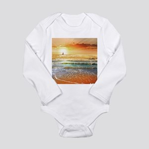 Tropical Beach Long Sleeve Infant Bodysuit