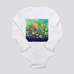 Watercolor Flowers Long Sleeve Infant Bodysuit