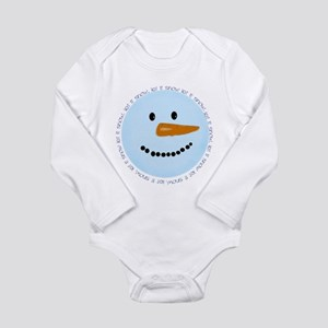 Blue Snowman Long Sleeve Infant Bodysuit