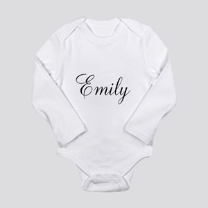 Personalized Black Script Long Sleeve Infant Bodys