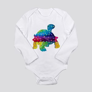 Rainbow Turtle With Multicolored Hearts Body Suit