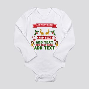 personalized add Text Long Sleeve Infant Bodysuit