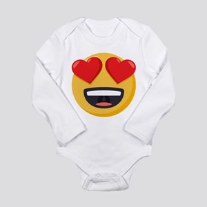 Heart Eyes Emoji Long Sleeve Infant Bodysuit