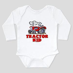 Red Tractor Kid Long Sleeve Infant Bodysuit