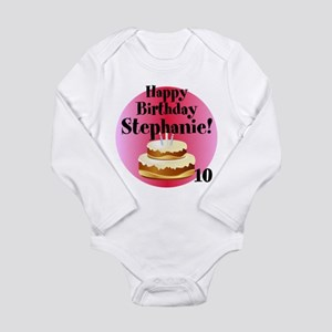 Personalized Name/Age Birthday Cake Pink Body Suit