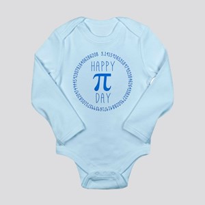 Happy Pi Day in Blue Long Sleeve Infant Bodysuit