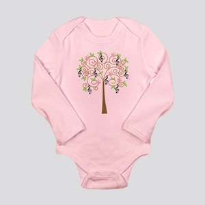 Music Treble Clef Tree Gift Long Sleeve Infant Bod