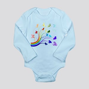 Butterflies and Rainbo Long Sleeve Infant Bodysuit