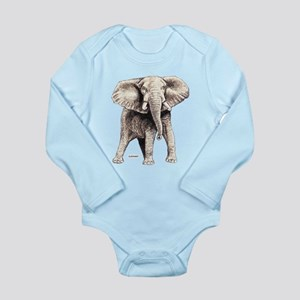 Elephant Animal Long Sleeve Infant Bodysuit