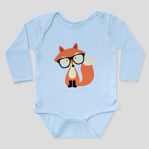 Hipster Red Fox Long Sleeve Infant Bodysuit