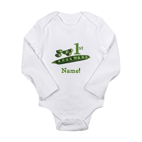 Personalized Pea Pod 1st Birthday Long Sleeve Infa