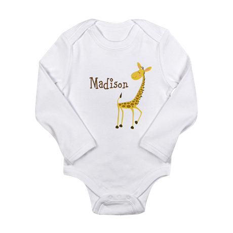 Custom Name Giraffe Long Sleeve Infant Bodysuit